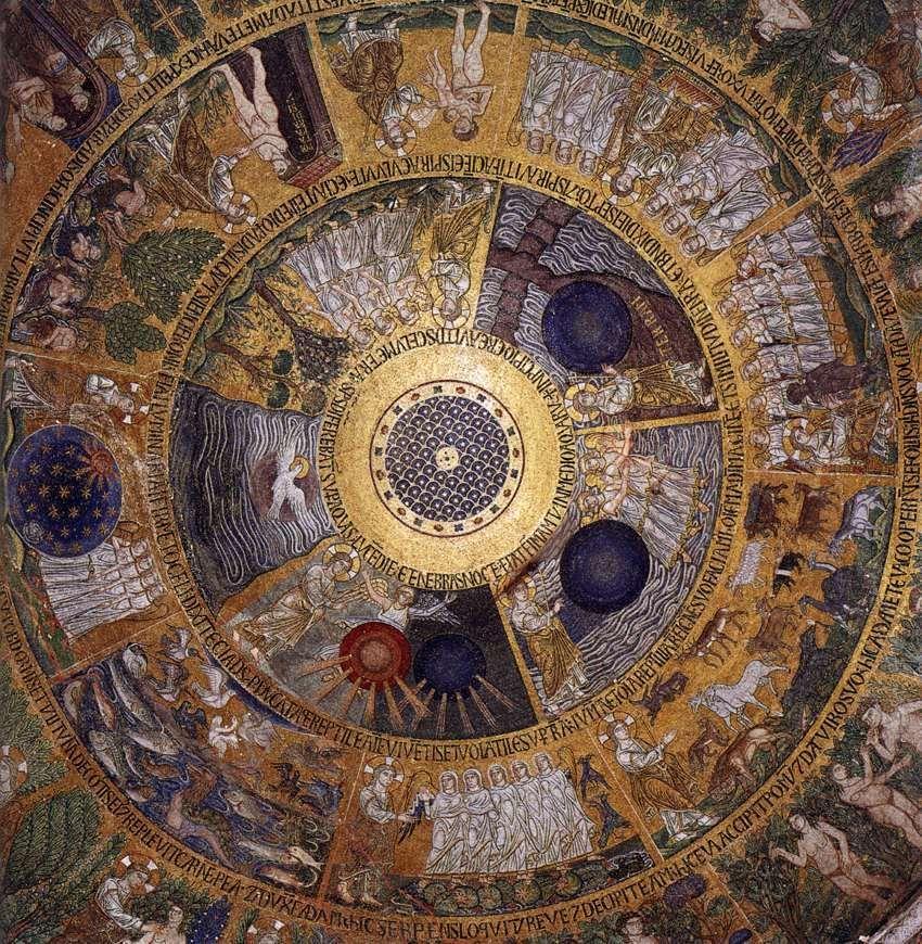 Creazione del Mondo. Mosaici del Duomo di San Marco a Venezia. Secolo XIII. dans immagini sacre